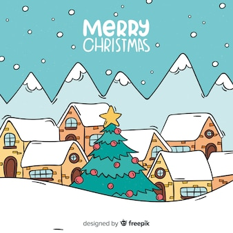 Hand drawn christmas town background