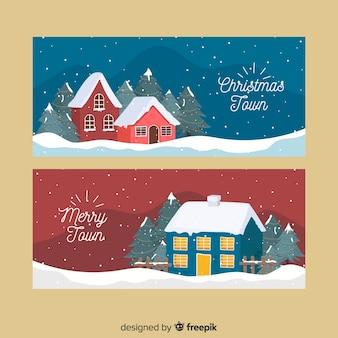 Hand drawn christmas town banner set