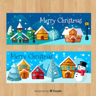 Hand drawn christmas town banner