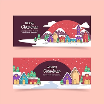 Hand drawn christmas town banners template