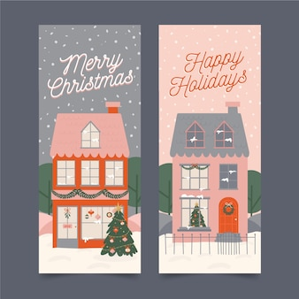 Hand drawn christmas town banners