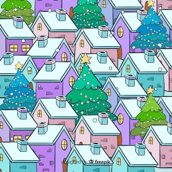 Hand drawn christmas town high view
