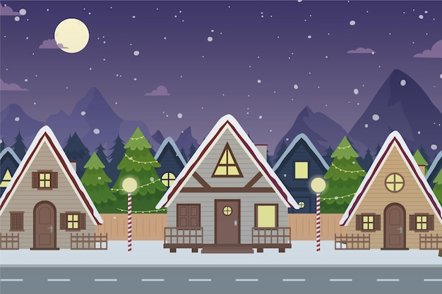 Hand drawn christmas town in night time