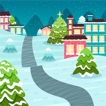 Hand drawn christmas town wallpaper