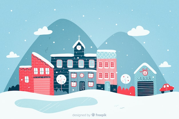 Hand drawn christmas town