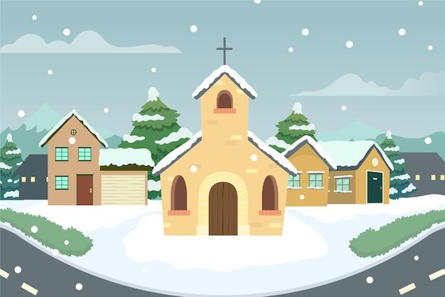 Hand drawn christmas town