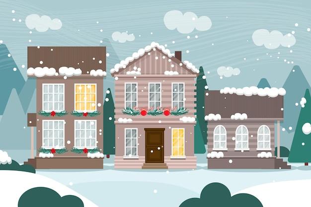 手描きのクリスマスの町