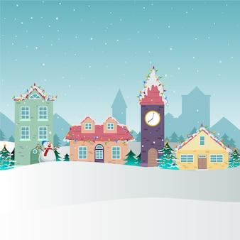 손으로 그린 크리스마스 마을