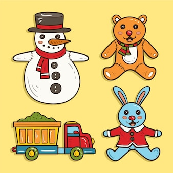 Hand drawn christmas toy collection
