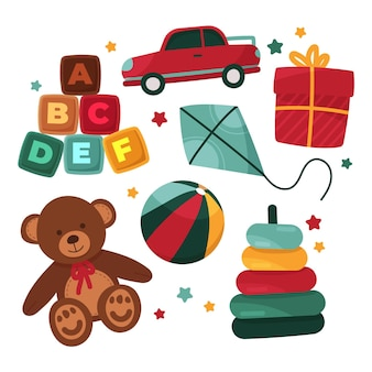 Коллекция рисованной рождественских игрушек