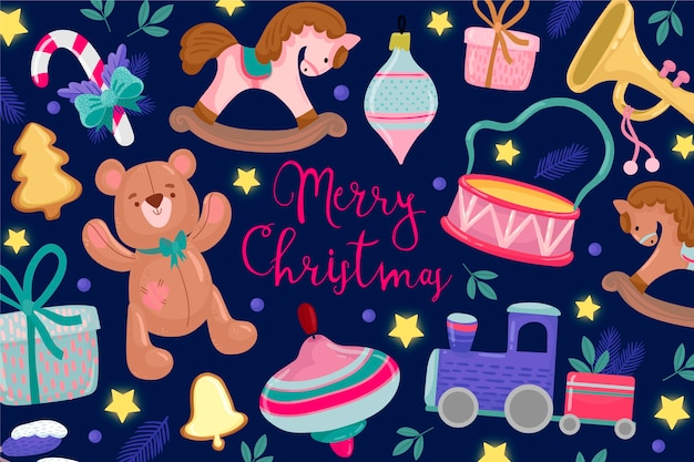 Hand drawn christmas toys background