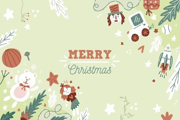 손으로 그린 크리스마스 장난감 배경