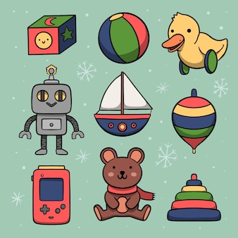 Hand drawn christmas toys collection