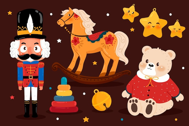 手描きのクリスマスのおもちゃコレクション