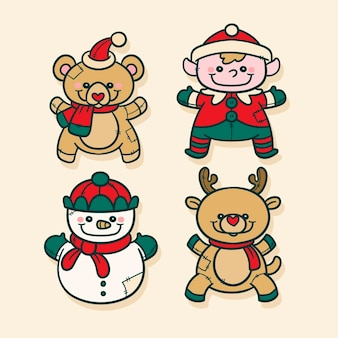 손으로 그린 크리스마스 장난감 컬렉션