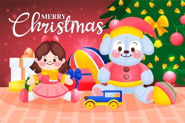 Hand drawn christmas toys wallpaper