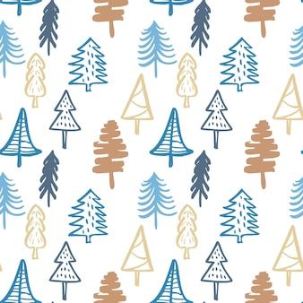 手描きのクリスマスツリーの背景落書きインクシームレスパターン新年の