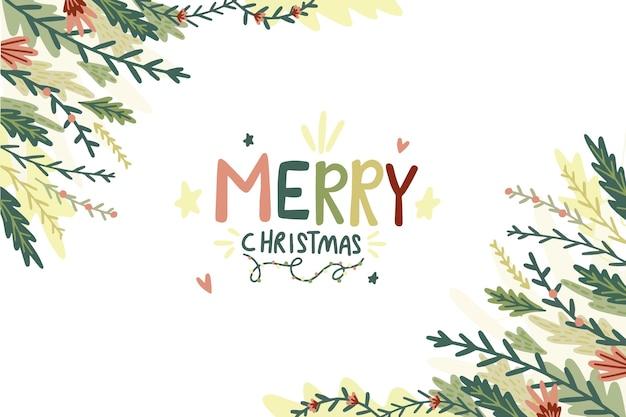 손으로 그린 크리스마스 트리 분기 배경