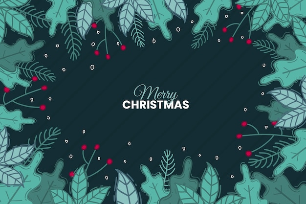 Hand drawn christmas tree branches background