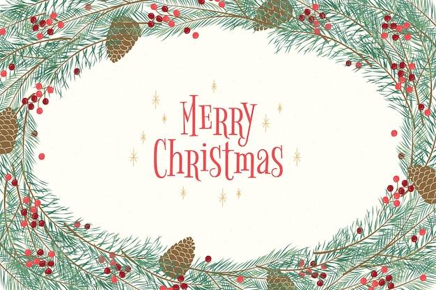 Ручной обращается рождественская елка ветви фон
