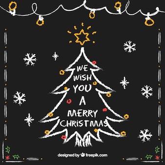 손으로 그린 크리스마스 트리 카드