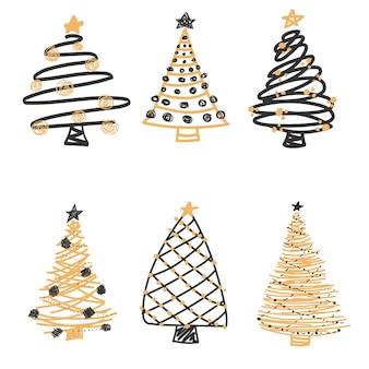 Hand drawn christmas tree collection