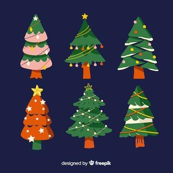 手描きのクリスマスツリーコレクション 無料ベクター