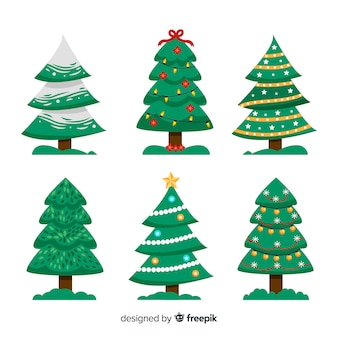 Hand drawn christmas tree collection