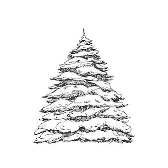 Ручной обращается рождественская елка, покрытая снегом векторная иллюстрация абстрактный эскиз зимний праздник engra ...