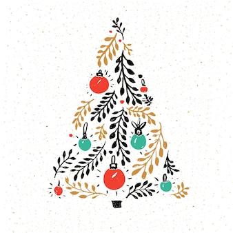 손으로 그린 크리스마스 트리는 빨간색과 녹색 공으로 장식되어 있습니다. 인사말 카드 벡터 디자인입니다.