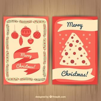 手描きクリスマスツリーの装飾カード