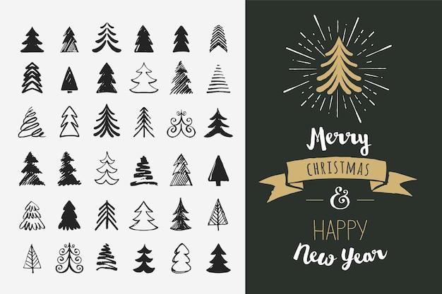 손으로 그린 크리스마스 트리 아이콘. 기념일 로고 및 스케치