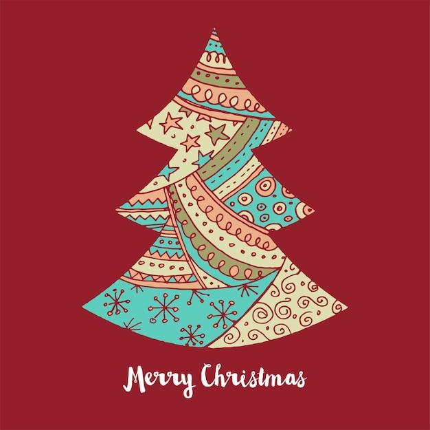 手描きのクリスマスツリーのアイコン。落書き、要素、スケッチ