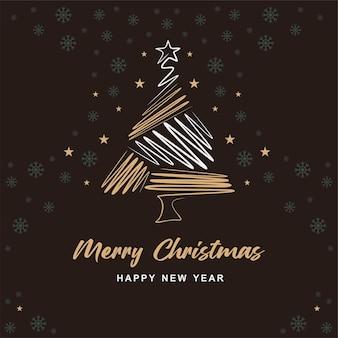 손으로 그린 크리스마스 트리 라인 크리 에이 티브 배경 a