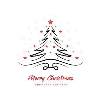 Hand drawn christmas tree line creative background