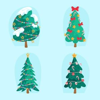 Hand drawn christmas tree ornaments