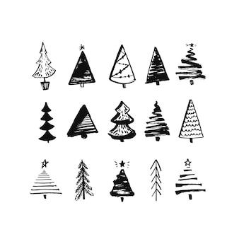 손으로 그린 크리스마스 트리 삽화 세트 검정 잉크 및 브러시 스케치 벡터 요소