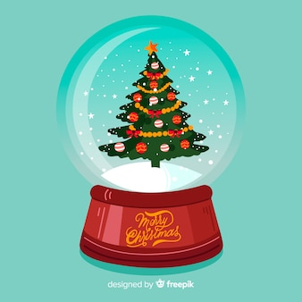 Hand drawn christmas tree snowball globe