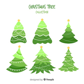 Hand drawn christmas trees collection