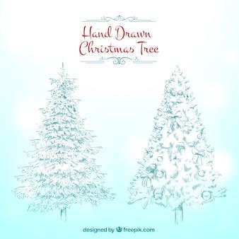 Disegnati a mano alberi di natale