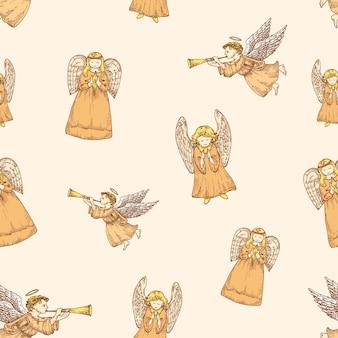 手描きのクリスマスベクトルシームレスな背景パターン天使スケッチカードまたはカバーテンプレートholid ...