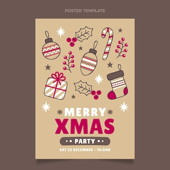 Hand drawn christmas vertical poster template