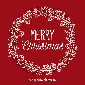 Hand drawn christmas wreath background