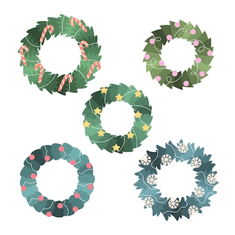 Hand drawn christmas wreath collection