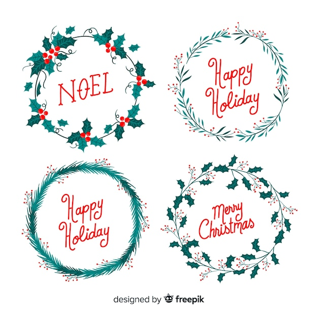 Seasons Greetings Christmas Wreath Wreath Happy Holidays Greeting Card Set of 5 Hand Lettered Card Pack