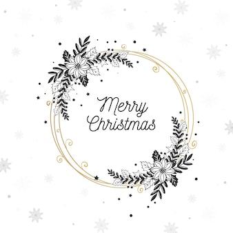 Hand drawn christmas wreath concept
