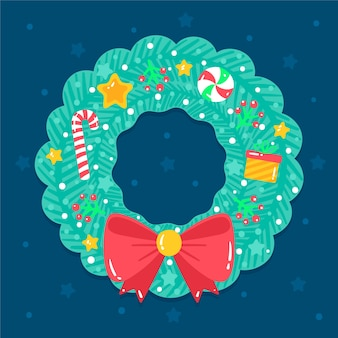 Hand drawn christmas wreath concept
