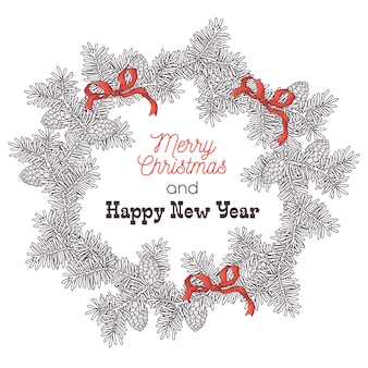 Hand drawn christmas wreath of fir branches vector.