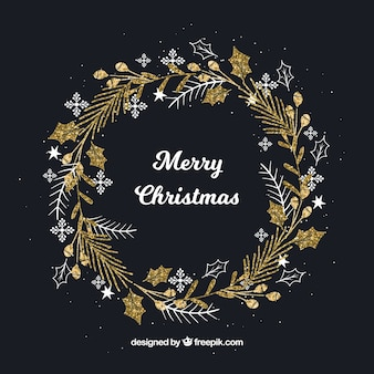 Hand drawn christmas wreath gold background