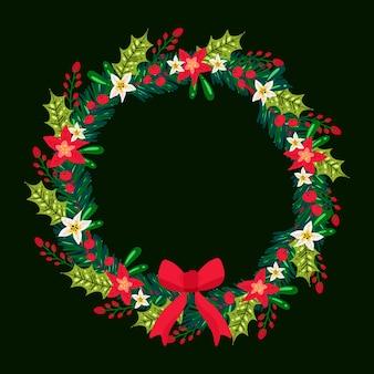 Ручной обращается рождественский венок иллюстрация